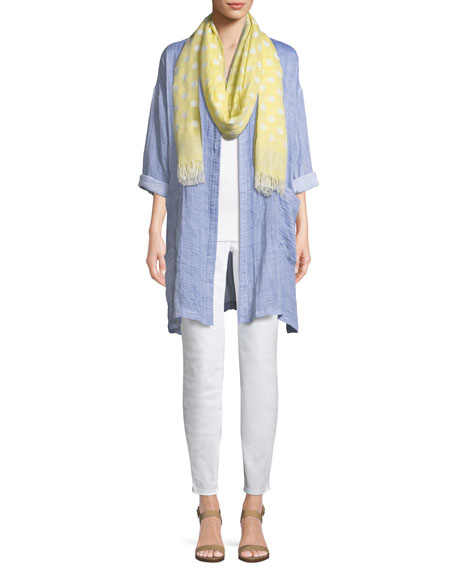 Crinkle Gauze Kimono Coat, Plus Size