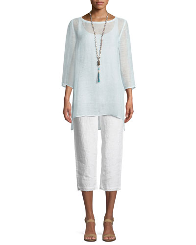 3/4-Sleeve Mesh Organic Linen Tunic  and Matching Items