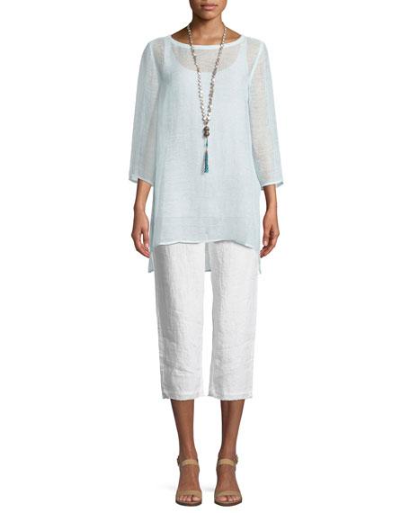 3/4-Sleeve Organic Linen Mesh Tunic, Plus Size