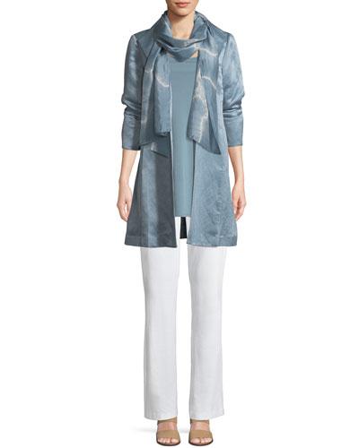 Organic-Linen/Silk Satin High-Collar Coat, Plus Size and Matching Items