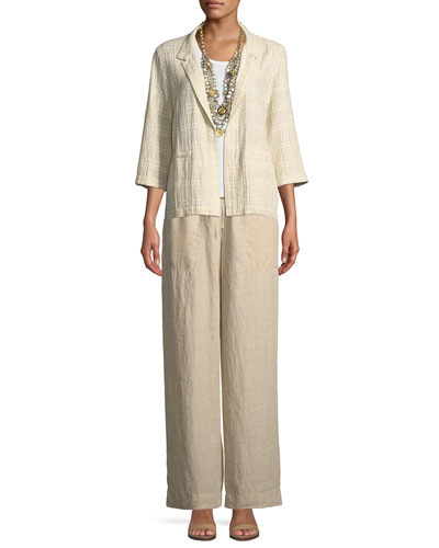 Organic Linen Drawstring-Waist Wide-Leg Pants and Matching Items