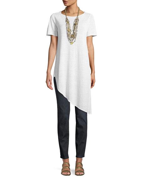 Organic Linen Knit Asymmetric Tunic, Petite