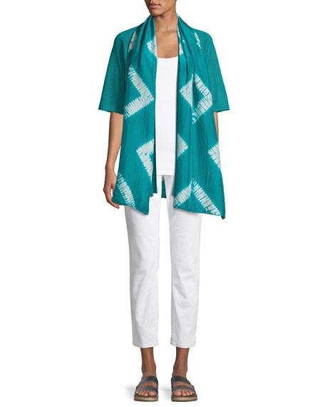 Half-Sleeve Organic Linen Cardigan, Plus Size