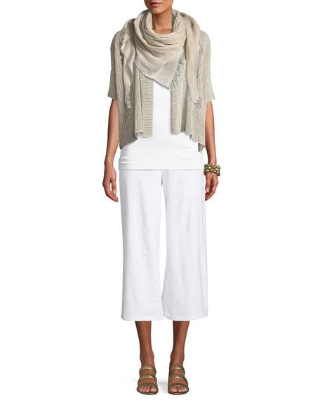 Organic Linen Open-Weave Short Cardigan