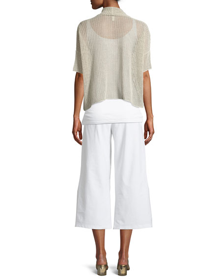 Organic Linen Open-Weave Short Cardigan, Petite