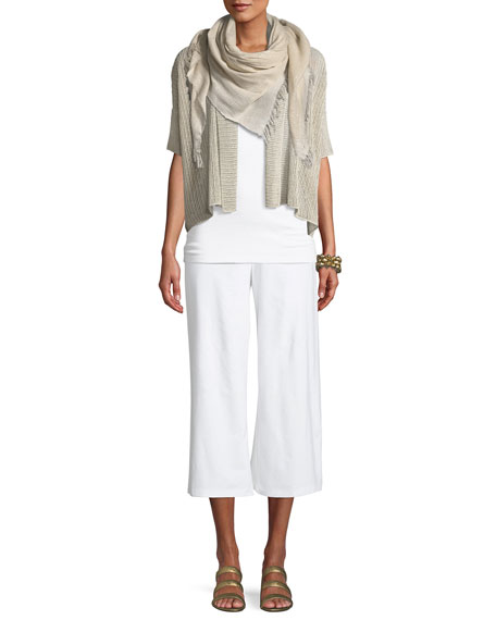 Wide-Leg Washable-Crepe Cropped Pants, Petite