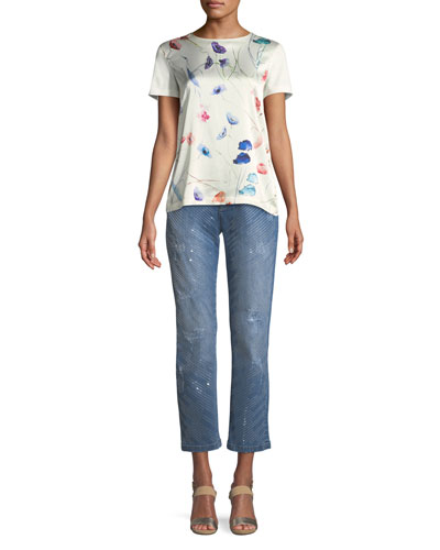 Crewneck Short-Sleeve Sequin Floral-Print Tee and Matching Items