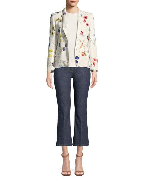 Watercolor Floral-Print 2-Button Blazer w/ Sequins