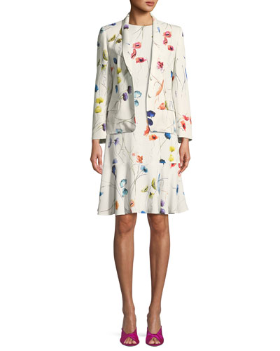 Watercolor Floral-Print 2-Button Blazer w/ Sequins and Matching Items