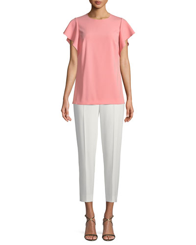 Crewneck Cascade Ruffle Crepe Blouse and Matching Items