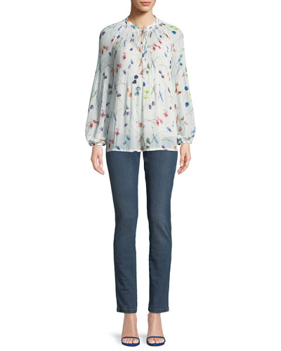 Split-Neck Long-Sleeve Watercolor-Print Blouse w/ Camisole and Matching Items