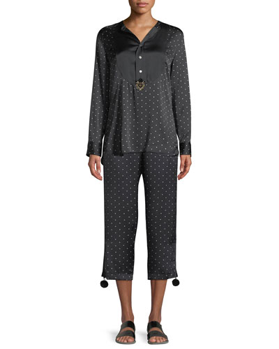 Milagro Long-Sleeve Dot-Print Silk Tux Shirt and Matching Items