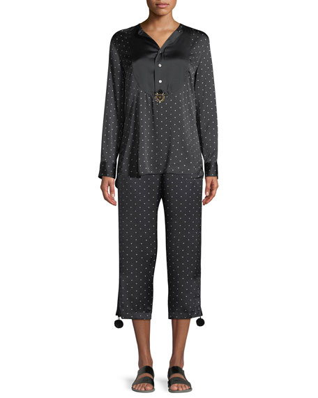 Milagro Long-Sleeve Dot-Print Silk Tux Shirt