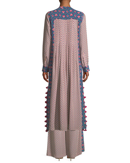 Rumi Long-Sleeve Floral-Print Silk Crepe de Chine Maxi Dress