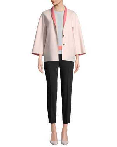 Snap-Front Long-Sleeve Reversible Wool-Cashmere Coat and Matching Items