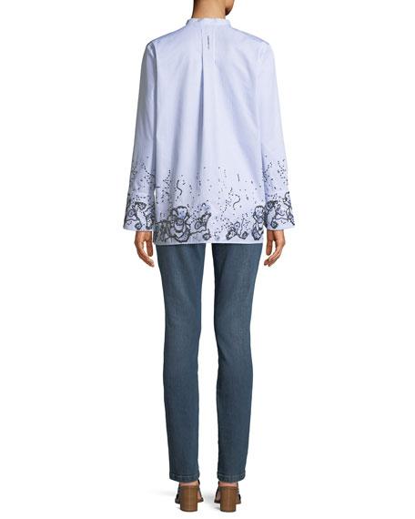 Striped Button-Down Cotton Shirt w/ Sequin Embellishment