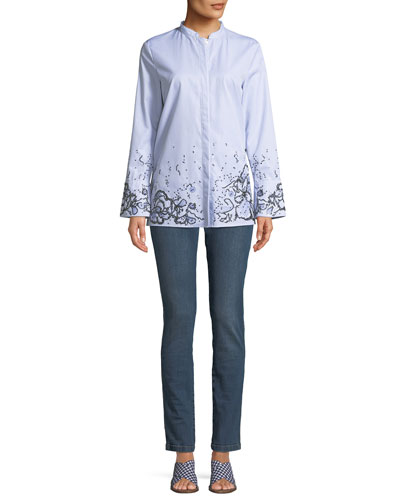 Striped Button-Down Cotton Shirt w/ Sequin Embellishment and Matching Items