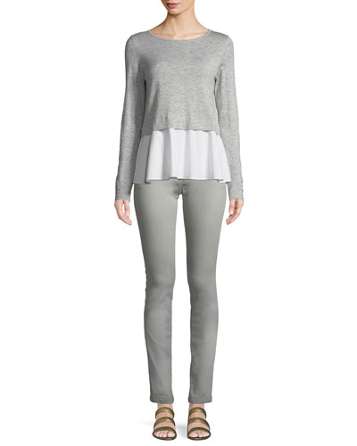 Long-Sleeve Pullover Top w/ Poplin Hem and Matching Items