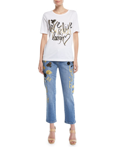 Love, Live, Laugh Crewneck Short-Sleeve Cotton Tee and Matching Items
