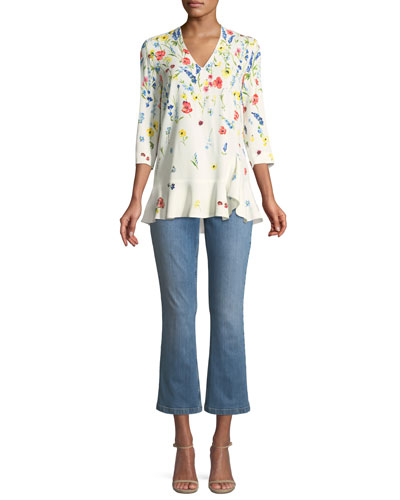 3/4-Sleeve V-Neck Floral-Print Top and Matching Items