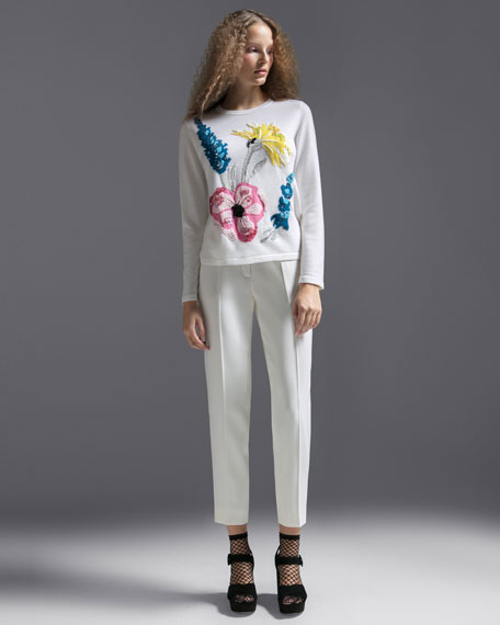 Embroidered-Floral Virgin Wool Pullover Sweater