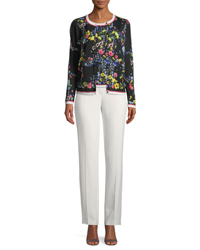 Floral Contrast-Trim Cardigan  and Matching Items