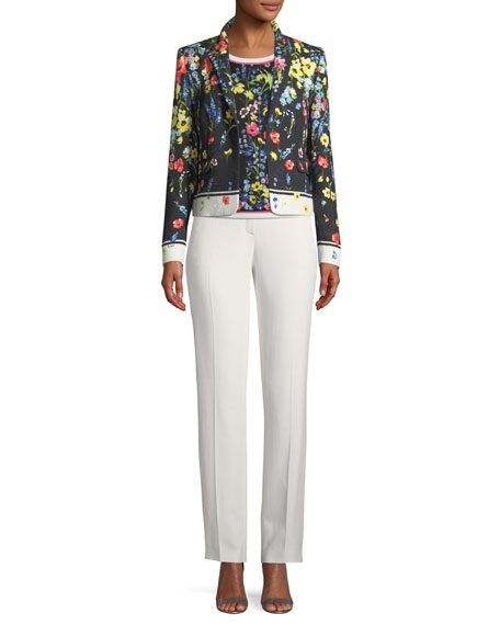 One-Button Floral-Print Matelasse Jacket
