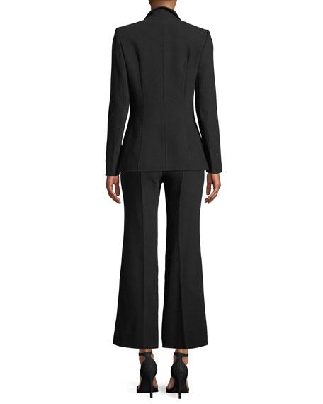 Notch-Collar One-Button Side-Slit Wool-Blend Jacket
