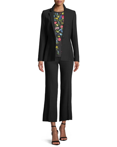 Notch-Collar One-Button Side-Slit Wool-Blend Jacket and Matching Items