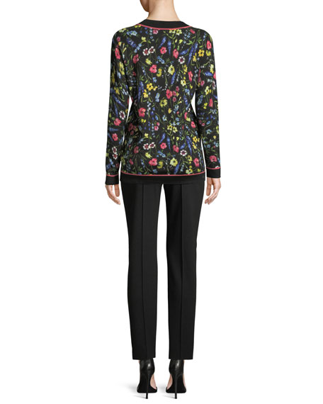 V-Neck Long-Sleeve Floral-Print Pullover Tunic
