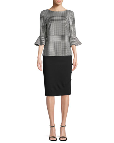 Houndstooth 3/4 Flounce Sleeve Wool-Blend Top and Matching Items