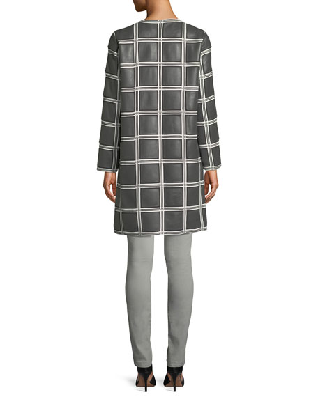 Grid-Pattern Snap-Front Lamb Leather Topper Coat