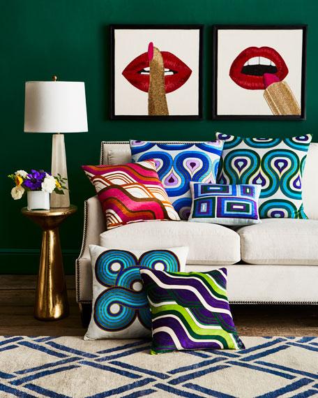 Milano Mod Tide Pillow, Green/Purple