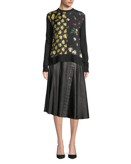Crewneck Long-Sleeve Mixed-Print Silk-Cotton Pullover Sweater