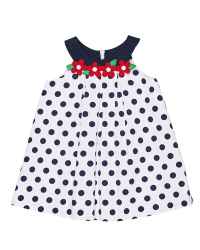 Polka-Dot Pique Dress w/ Flowers, Size 9-24 Months  and Matching Items