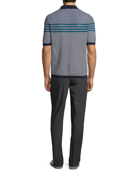 Men's Horizontal-Striped Polo Shirt