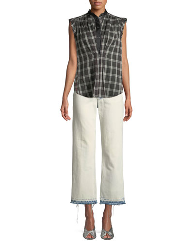 Sleeveless Cap-Sleeve Plaid Cotton Top w/ Collar and Matching Items
