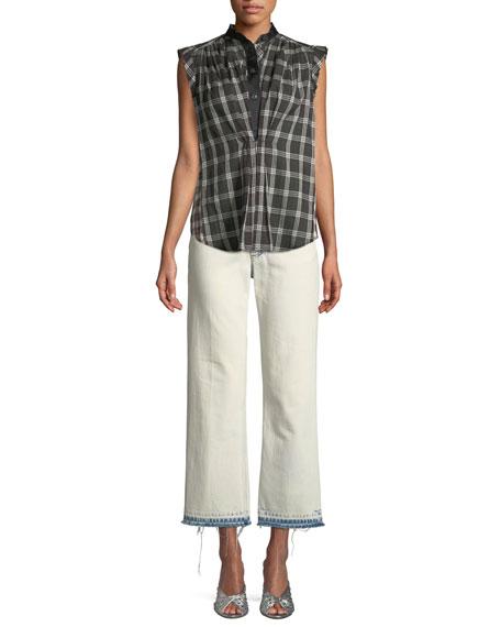 Sleeveless Cap-Sleeve Plaid Cotton Top w/ Collar