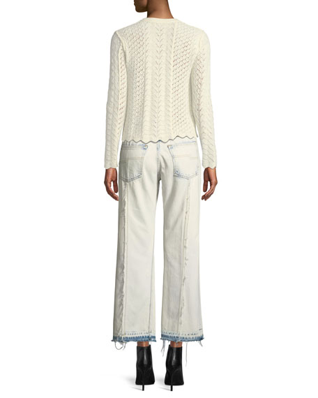 Button-Front Cross-Stitched Long-Sleeve Cashmere-Blend Cardigan