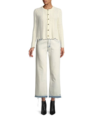 Button-Front Cross-Stitched Long-Sleeve Cashmere-Blend Cardigan and Matching Items