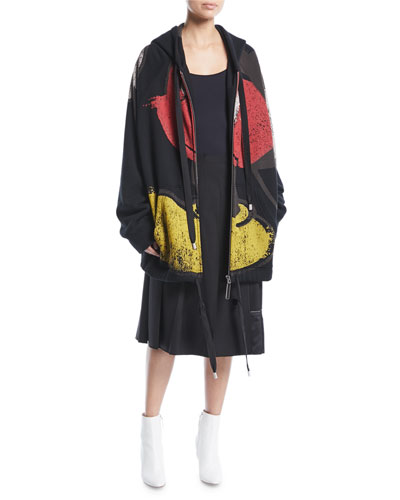 Mickey-Print Zip-Front Oversized Hooded Sweatshirt and Matching Items