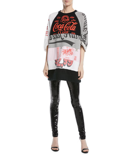 Crewneck Elbow-Sleeve Coca-Cola Takeout Colorblocked Sweatshirt Dress and Matching Items