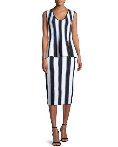 V-Neck Sleeveless Striped Knit Peplum Top and Matching Items