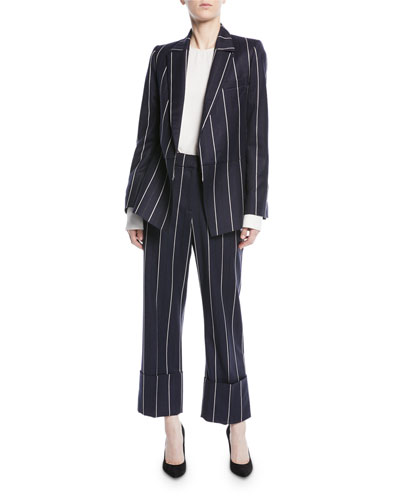 Open-Front Long-Sleeve Pinstripe Wool-Blend Blazer and Matching Items