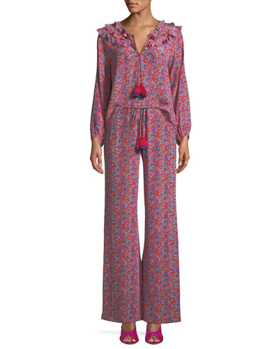 Millie Frida Floral-Print Silk Crepe de Chine Peasant Blouse and Matching Items