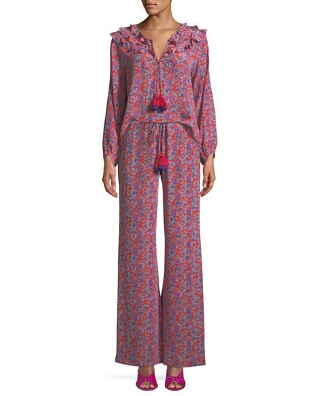 Millie Frida Floral-Print Silk Crepe de Chine Peasant Blouse