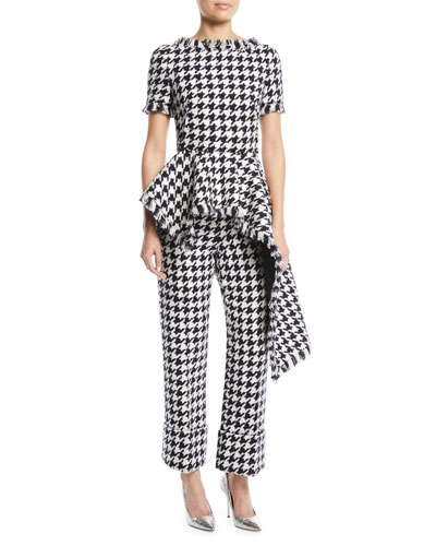Houndstooth-Tweed Asymmetric Peplum Top and Matching Items
