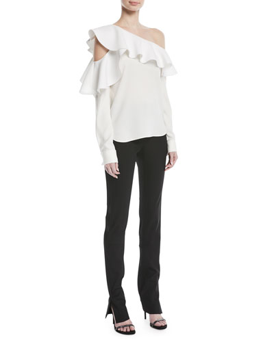 Long-Sleeve One-Shoulder Ruffle Silk Blouse and Matching Items