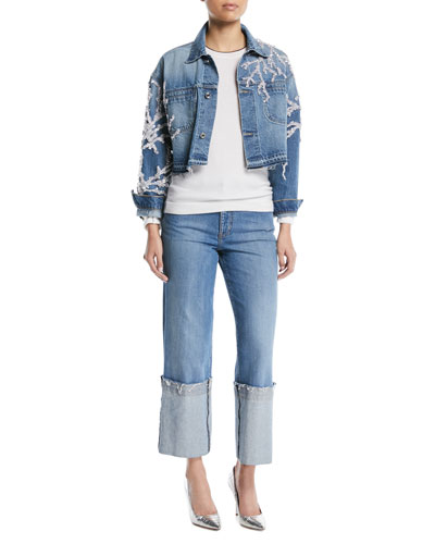 Button-Down Cropped Beaded Coral Denim Jacket and Matching Items