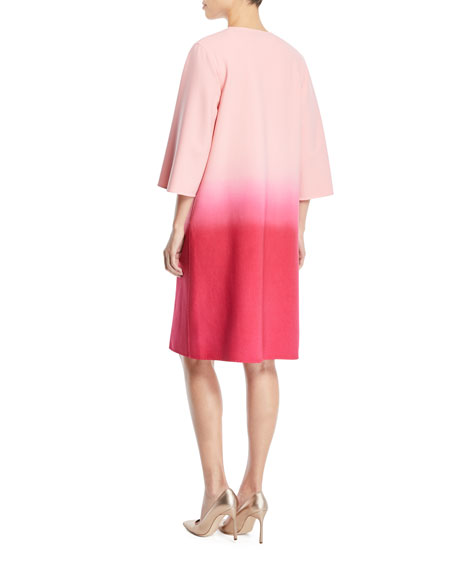 Dip-Dye Ombre 3/4-Sleeve No-Closure Long Jacket